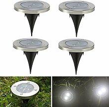 4 Stück Solarleuchten Bodenleuchte Solar LED Strahler mit Weiß Licht und 2LED Wasserfeste Bodenbeleuchtung Außen für Garten, Terasse von NORDSD