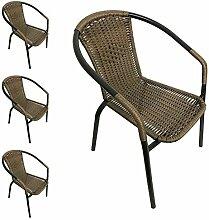 4 Stück Stapelstühle Bistrostuhl Gartenstuhl Gartensessel stapelbar Polyrattan Balkonmöbel Gartenmöbel Terrassenmöbel