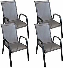 4 Stück Stapelstuhl Stapelsessel Gartenstuhl Gartensessel stapelbar Stahlgestell pulverbeschichtet mit Textilenbespannung Balkonmöbel Gartenmöbel Terrassenmöbel Schwarz / Anthrazi