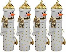 4 Stück Weihnachtliche Flaschendose Schneemann, Ø10xH36cm, Weiß/Gold, Flaschenbox Flaschenverpackung