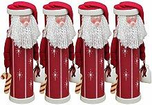 4 Stück Weihnachtliche Flaschendose Weihnachtsmann, Ø10xH36cm, Rot/Weiß, Flaschenbox Flaschenverpackung
