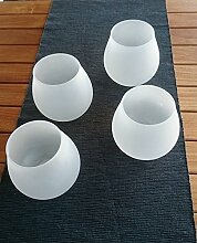 4 Stück Windlicht Milchglas , mediteranes Flair , Garten, Ambiente, Deko Licht M1