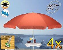 4 Stück XXL Sonnenschirm inkl. Schirmtisch gross, 180 cm / 1,80 m EDEL-rot lachsrot orange mit Volant, 8-teilig / 8-eckig massiv robust, Strandschirm,Strandschirm,Sonnendach /Sonnenschutz Dach, XXL-Klappschirm, Gartenschirm extrem wetterfest, klappbar, tragbar, seewasserfest, hochwertig robust stabil, Sonnenschutz, stabiler Schirm Klappschirm, rot lachsrot orange, Strandschirme, Sonnenschirme, Sonnenschirm-Tische, Regenschirm Picknickschirme