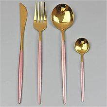 4 stücke Black Gold Geschirr Set 304 Edelstahl