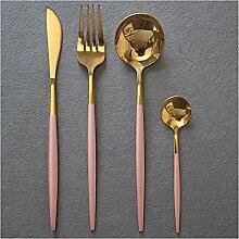 4 stücke Rot Gold 18/10 Edelstahl Messer Gabel