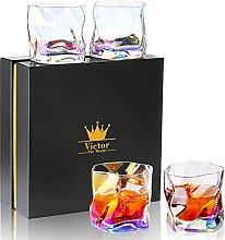 4 Stücke Whiskey Glas mit Geschenk Box Regenbogen