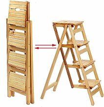 4 Stufenleiter Massivholz Multifunktionsleiter Haushalt Klapp Indoor Klettern Leiter (Farbe : Holzfarbe)