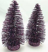 4 Tannenbäume Deko Violett Glitzer Glitter 14cm Tannenbaum Dekoration Weihnachten Advent Home