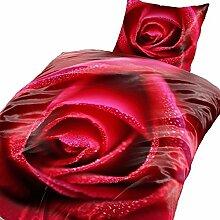 4-Teilig Microfaser Bettwäsche Rose rot mit