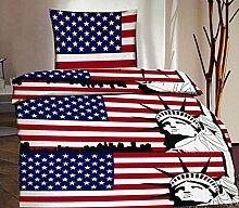 4-Teilig Microfaser Bettwäsche USA Flagge mit