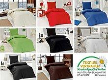 4 teilig Renforcé uni einfarbig Bettwäsche