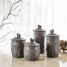 4 teilig Set Porzellan Vorratsdose in 4 Größe, Purelifestyle, Aufbewahrungsdose mit Deckel, Küchendose, Zuckerdose, Teedose, Kaffeedose