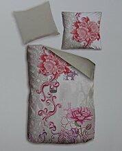 4 TEILIG Wende Bettwäsche 100%Baumwolle Renforce 135 x 200 Blumen Rosa Pink Lila Weiß Neu