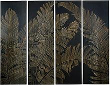 4-teilige Wanddeko Blattwerk aus schwarzem