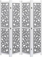 4-teiliger Raumteiler Grau 140 x 165 cm Massivholz