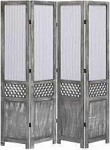 4-teiliger Raumteiler Grau 140 x 165 cm Stoff