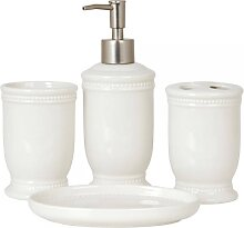 4 teiliges Badaccessoires Set, Badezimmerset Keramik weiß Clayre & Eef (32,95 EUR / SET)