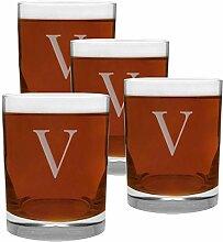 4-teiliges Glasset mit Gravur mit