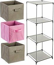 4-teiliges Kindermöbel-Set: 1 Fächerregal + 3 Schubladenkisten - Farbe ROSA und TAUPE