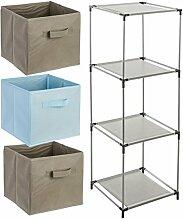4-teiliges Kindermöbel-Set: 1 Fächerregal + 3 Schubladenkisten - Farbe HIMMELBLAU und TAUPE
