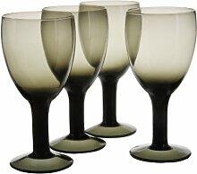 4 Teiliges Weinglas, Schwarz,