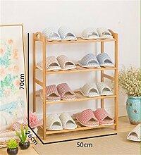 4 Tier Schuh Rack Massivholz Einfache Lagerung Schrank Möbel Creative Simplicity Bambus Organizer Regale ( größe : 50 cm )
