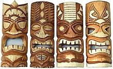 4 Tiki Wandmasken 30cm im Hawaii Style 4er Set