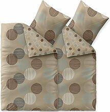4 tlg Baumwolle Bettwäsche 155x220, mit Reißverschluß atmungsaktiv waschbar Bettwäsche Set mit 80x80 Kissen Bezug, Bettbezug mit Kopfkissen, aqua-textil Trend Fara 0011852 natur beige blau braun