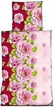 4 tlg Bettwäsche 135 x 200 cm Blumen Rose rosa