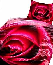 4 tlg. Bettwäsche 135 x 200 cm in weiß/rot aus