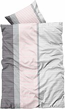4 tlg Bettwäsche 135x200cm rosa grau gestreift