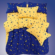 4 tlg Bettwäsche Set Kontrast Farben Bettbezug + Bettlaken + 2 Kissenbezüge
