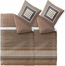 4 tlg Biber Winter Bettwäsche 155x220 warm, Baumwolle flauschig weicher Biber Bettbezug 80x80 Kissenbezug, CelinaTex Touchme Bettgarnitur Tara braun beige weiß 6000432