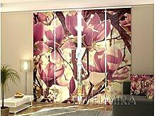 4 Tlg. Flächenvorhang Set Foto Gardinen Vorhänge bedruckt Schiebegardine Magnolie Blumen Fotovorhang Fotogardine
