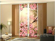 4 Tlg. Flächenvorhang Set Foto Gardinen Vorhänge bedruckt Schiebegardine mit Motiv Blumen Fotovorhang Fotogardine