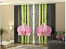4 Tlg. Flächenvorhang Set Foto Gardinen Vorhänge bedruckt Schiebegardine Orchidee Blumen Fotovorhang Fotogardine
