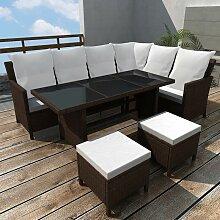 4-tlg. Garten-Lounge-Set mit Auflagen Poly Rattan