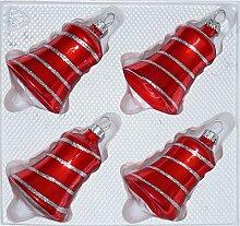 4 TLG. Glas-Glocken Set in Hochglanz Rot Candy