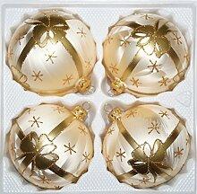 4 TLG. Glas-Weihnachtskugeln Set 10cm Ø in Ice
