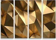 4-tlg.Leinwandbilder-Set3D goldener
