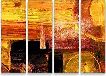 4-tlg.Leinwandbilder-SetAbstraktes warmes Bild