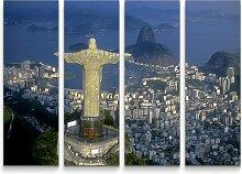 4-tlg.Leinwandbilder-SetChristus Statue in Rio