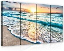 4-tlg. Leinwandbilder-Set Sonnenuntergang