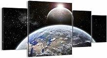 4-tlg. Leinwandbilder-Set Weltraumlandschaft