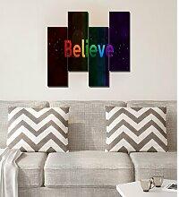 4-tlg. MDF-Bilder-Set Believe