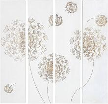 4 Wandpaneele aus geschnitztem Paulownienholz,