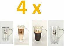 4 x 400ml xl doppelwandiges latte macchiato glas