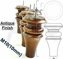 4x Antik Braun Finish Holz Füße Ersatz Möbel Beine 150mm Höhe für Sofas, Stühle, Hocker M10(10)