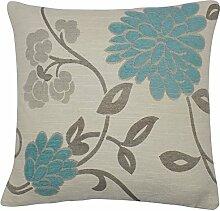 4x Blaugrün Creme Beige Blumenmuster Chenille Kissen