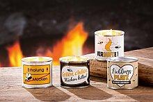 4 x Citronella-Kerze in Dose Wachs m. Sprüchen